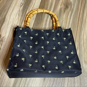 Black Bag with Palm Trees and Bamboo Handles